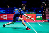18th March 2018, Arena Birmingham, Birmingham, England; Yonex All England Open Badminton Championships; Shi Yuqi (CHN) in the mens singles  final against Lin Dan (CHN)