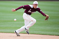 Eric Cheray #14 of the Missouri State Bears chases a hard hit ground ball during a game against the Wichita State Shockers at Hammons Field on May 5, 2013 in Springfield, Missouri. (David Welker/Four Seam Images)