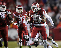NWA Media/ J.T. Wampler - Arkansas' Rohan Gaines runs back an interception for 100 yards to score a third quarter touchdown against Ole Miss Saturday Nov. 22, 2014.
