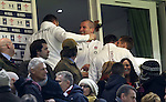 The England management team led by Stuart Lancaster celebrate victory over Wales at full time.<br /> 2015 RBS 6 Nations<br /> Wales v England<br /> Millennium Stadium <br /> 06.02.15<br /> ©Steve Pope -SPORTINGWALES