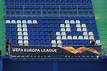 Getafe's workers place a UEFA Europa League banner during training session. February 19,2020.(ALTERPHOTOS/Acero)