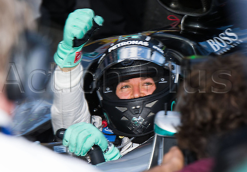 20.03.2016. Melbourne Grand Prix Circuit, Albert Park, Melbourne, Australia. The F1 Australian Grand Prix race day. Mercedes AMG Petronas Formula One driver Nico Rosberg of Germany celebrates after winning the Australian Formula One Grand Prix at the Albert Park in Melbourne, Australia, March 20, 2016.