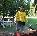 Jose Torres, peruano, ritratto alla grigliata domenicale nel parco della Pellerina. <br /> Peruvian football player in Balon Mundial, tournament for immigrants living in Piedmont.