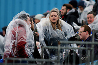 Peterborough United fans arrive at the ground and sit in the uncovered away end and look forward to a winter break in the future during Gillingham vs Peterborough United, Sky Bet EFL League 1 Football at the MEMS Priestfield Stadium on 10th February 2018