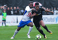 Lautoka's Ben Totori and Team Wellington's Roy Kayara compete for the ball during the Oceania Football Championship final (first leg) football match between Team Wellington and Lautoka FC at David Farrington Park in Wellington, New Zealand on Sunday, 13 May 2018. Photo: Dave Lintott / lintottphoto.co.nz