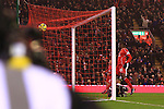 Mario Balotelli of Liverpool scores his sides third goal - Liverpool vs. Tottenham Hotspurs - Barclay's Premier League - Anfield - Liverpool - 10/02/2015 Pic Philip Oldham/Sportimage