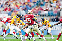 January 01, 2010:   Florida State punter Shawn Powell (45) punts  during Konica Minolta Gator Bowl College football action between the West Virginia Mountaineers and the Florida State Seminoles played at the Jacksonville Municipal Stadium in Jacksonville, Florida on January 01, 2010.  Florida State defeated West Virginia 33-21.