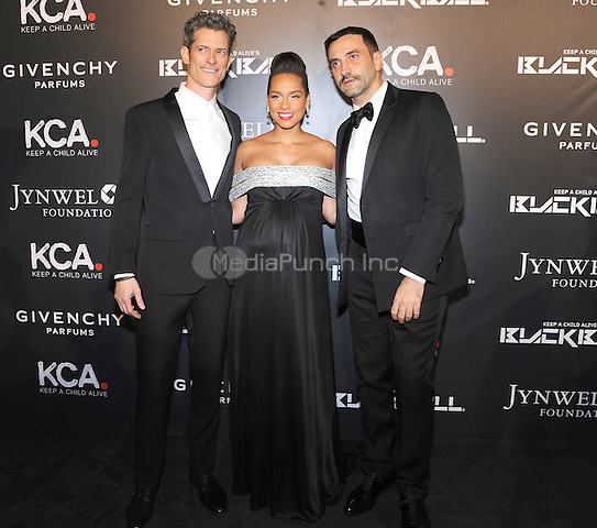 New York, NY- October 30: Peter Twyman, Alicia Keys and Riccardo Tisci attends Keep a Child Alive's 11Annual Black Ball at Hammerstein Ballroom on October 30, 2014 in New York City. Credit: John Palmer/MediaPunch