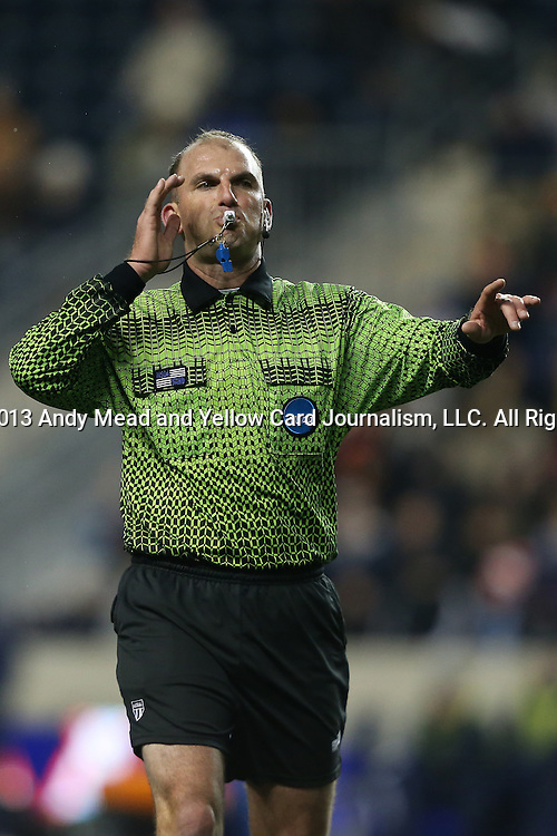 13 December 2013: Referee Ted Unkel. The University of Maryland Terripans played the University of Virginia Cavaliers at PPL Park in Chester, Pennsylvania in a 2013 NCAA Division I Men's College Cup semifinal match. Maryland won the game 2-1.