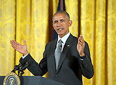 United States President Barack Obama makes remarks following his presenting the 2015 National Medals of Arts and 2015 National Humanities Medals during a ceremony in the East Room of the White House in Washington, DC on Thursday, September 22, 2016.<br /> Credit: Ron Sachs / CNP