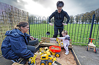 Pictured: A young girl plays in the sand pit. Thursday 21 March 2019<br /> Re: Julie Morgan, AM, has met parents at Twinkle Star playgroup before new legislation is brought in by the Welsh Government to ban parents from smacking children, Cardiff, Wales, UK.