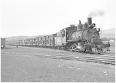 3/4 engineer's-side view of D&amp;RGW #361 with stock train in Gunnison, CO.<br /> D&amp;RGW  Gunnison, CO  Taken by Richardson, Robert W. - 9/17/1946