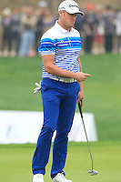 Jamie Donaldson (WAL) putts on the 17th green during Saturay's Round 3 of the 2014 BMW Masters held at Lake Malaren, Shanghai, China. 1st November 2014.<br /> Picture: Eoin Clarke www.golffile.ie