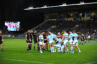 A scrum sets during the Rugby Championship match between the NZ All Blacks and Argentina Pumas at Yarrow Stadium in New Plymouth, New Zealand on Saturday, 9 September 2017. Photo: Dave Lintott / lintottphoto.co.nz
