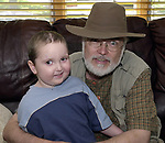 """A 'selfie"""" posing with Bradley Gefter age 4 recovering from brain surgery at his Plainview home. (Photo by Jim Peppler taken friday July 12, 2002)."""