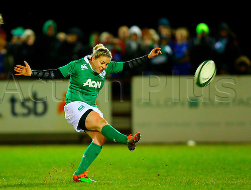 27.02.2015. Ashbourne Rugby Club, Ireland. Womens 6-Nations international. Ireland versus England. Niamh Briggs (Captain Ireland) converts a penalty late in the second half to win the game