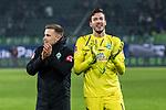 01.12.2019, Volkswagen Arena, Wolfsburg, GER, 1.FBL, VfL Wolfsburg vs SV Werder Bremen<br /> <br /> DFL REGULATIONS PROHIBIT ANY USE OF PHOTOGRAPHS AS IMAGE SEQUENCES AND/OR QUASI-VIDEO.<br /> <br /> im Bild / picture shows<br /> Johannes Eggestein (Werder Bremen #24), <br /> Jiri Pavlenka (Werder Bremen #01), bejubeln Sieg, <br /> <br /> Foto © nordphoto / Ewert