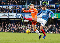 Blackpool's Callum Guy competing with Portsmouth's  Gareth Evans<br /> <br /> Photographer Andrew Kearns/CameraSport<br /> <br /> The EFL Sky Bet League One - Portsmouth v Blackpool - Saturday 12th January 2019 - Fratton Park - Portsmouth<br /> <br /> World Copyright &copy; 2019 CameraSport. All rights reserved. 43 Linden Ave. Countesthorpe. Leicester. England. LE8 5PG - Tel: +44 (0) 116 277 4147 - admin@camerasport.com - www.camerasport.com