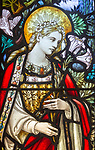 Stained glass window Church of Saint Mary, Milston, Wiltshire, England, UK - Virgin Mary