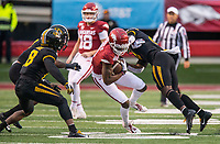 Hawgs Illustrated/BEN GOFF <br /> Tyree Gillespie, Missouri strong safety, tackles Mike Woods, Arkansas wide receiver, after a catch in the fourth quarter Saturday, Nov. 29, 2019, at War Memorial Stadium in Little Rock.