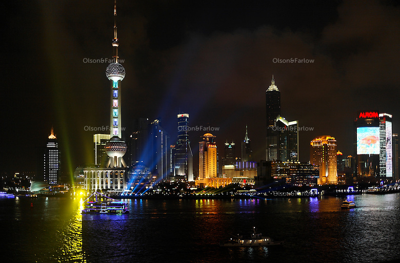 Pudong Skyline shot from roof top of Bar Rouge (18 Bund).  Also photos of Bar Rouge, one of the trendier bars in Shanghai..General contact for all photos is Wang Ting +86 138 0167 4532