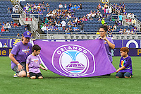 Orlando, FL - Sunday June 26, 2016: Flag kids  prior to a regular season National Women's Soccer League (NWSL) match between the Orlando Pride and the Portland Thorns FC at Camping World Stadium.