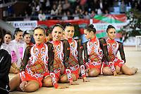 November 8, 2008; Durango, Spain (near Bilbao); Rhythmic gymnasts from Belarus senior group smile to camera before awards ceremony at 2008 Euskalgym International..