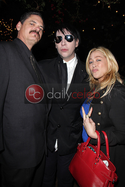 "Mark Burnham, Marilyn Manson, Jennifer Blanc<br /> at the ""Wrong Cops"" Opening Week Screening, Cinefamily Silent Movie Theater, Los Angeles, CA 12-27-13<br /> David Edwards/DailyCeleb.Com 818-249-4998"