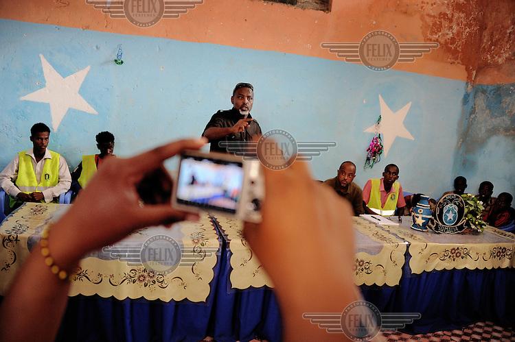 Mogadishu/Somalia 2012 - The Mayor of Mogadishu speaks at a press conference about programs focused on  children living in the streets of Mogadishu.