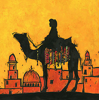 Silhouette of camel and rider against Middle Eastern cityscape