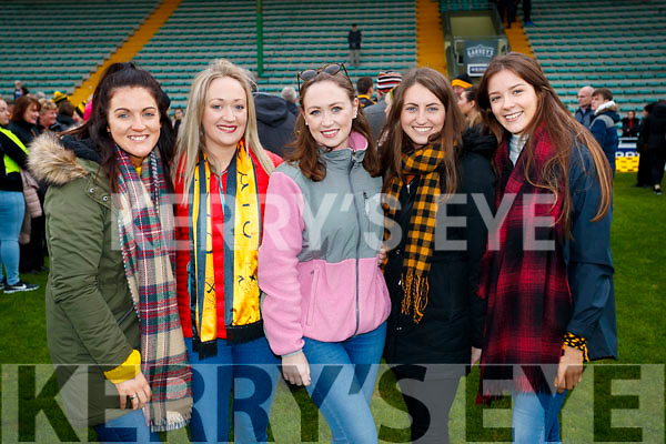 Stephanie Egan Niamh O'Shea Ciara O'Shea Megan Kiely Danika O'Grady, pictured at the Garvey's Senior Football Championship, Dr Crokes v South Kerry, at the Austin Stack Park, Tralee on Sunday last.