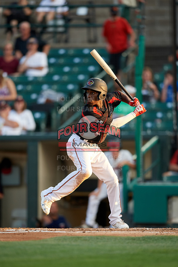 Rochester Red Wings shortstop Nick Gordon (1) at bat during a game against the Lehigh Valley IronPigs on September 1, 2018 at Frontier Field in Rochester, New York.  Lehigh Valley defeated Rochester 2-1.  (Mike Janes/Four Seam Images)