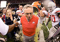 Ohio State head coach Jim Tressel gets doused with Gatorade by his players winning the game against Arkansas during 77th Annual Allstate Sugar Bowl Classic at Louisiana Superdome in New Orleans, Louisiana on January 4th, 2011.  Ohio State defeated Arkansas, 31-26.