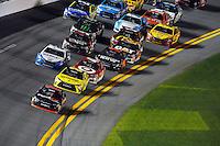 12-13 February, 2016, Daytona Beach, Florida, USA<br /> Denny Hamlin, FedEx Express Toyota Camry leads followed by teammate Matt Kenseth, Dollar General Toyota Camry.<br /> ©2016, F. Peirce Williams