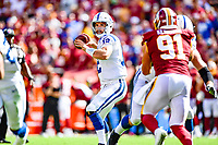 Landover, MD - September 16, 2018: Indianapolis Colts quarterback Andrew Luck (12) looks to pass the ball down field during game between the Indianapolis Colts and the Washington Redskins at FedEx Field in Landover, MD. The Colts defeated the Redskins 21-9.(Photo by Phillip Peters/Media Images International)