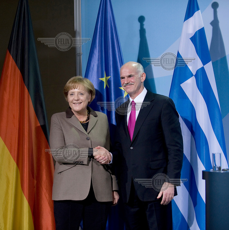 Angela Merkel, Chancellor of Germany and Georgios Papandreou, Greek prime minister (right) at a press call.