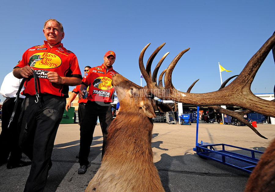 Sept. 28, 2008; Kansas City, KS, USA; Crew members for Nascar Sprint Cup Series driver Martin Truex Jr walk by an Elk head prior to the Camping World RV 400 at Kansas Speedway. Mandatory Credit: Mark J. Rebilas-