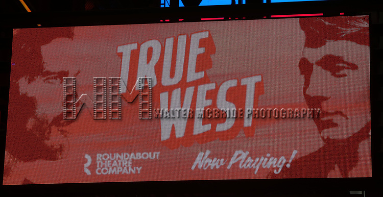 """during the Broadway Opening Night Curtain Call for the Roundabout Theatre Production of """"True West"""" at the American Airlines Theatre on January 24, 2019 in New York City."""
