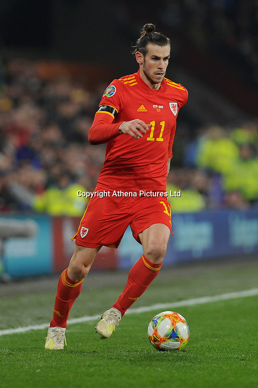 Gareth Bale of Wales in action during the UEFA Euro 2020 Group E Qualifier match between Wales and Hungary at the Cardiff City Stadium in Cardiff, Wales, UK. Tuesday 19th November 2019