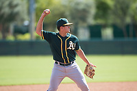 Oakland Athletics third baseman Jonah Bride (21) during an Instructional League game against the Los Angeles Dodgers at Camelback Ranch on October 4, 2018 in Glendale, Arizona. (Zachary Lucy/Four Seam Images)