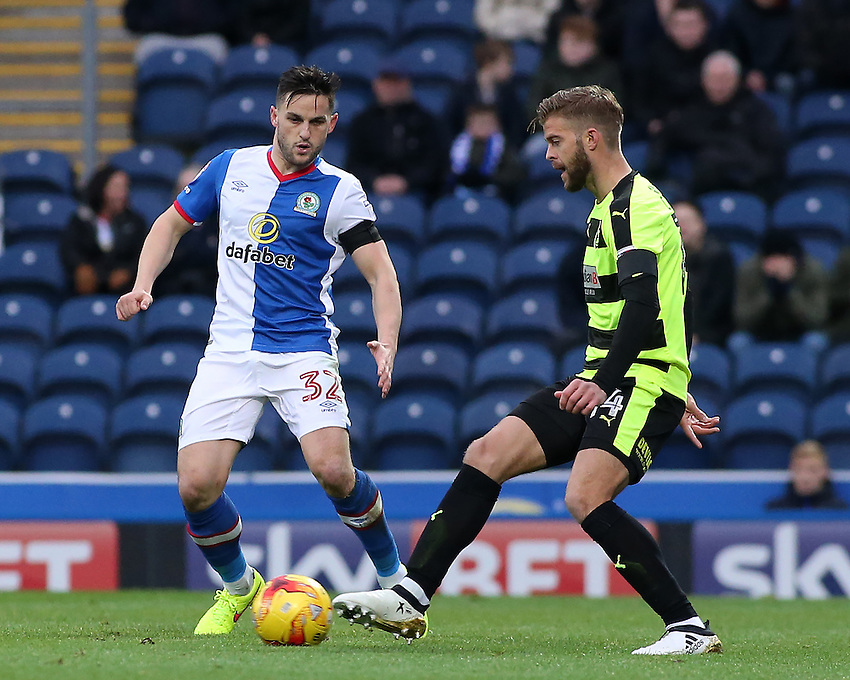 Huddersfield Town's Martin Cranie tries to get round Blackburn Rovers' Craig Conway<br /> <br /> Photographer David Shipman/CameraSport<br /> <br /> The EFL Sky Bet Championship - Blackburn Rovers v Huddersfield Town - Saturday 3rd December 2016 - Ewood Park - Blackburn<br /> <br /> World Copyright &copy; 2016 CameraSport. All rights reserved. 43 Linden Ave. Countesthorpe. Leicester. England. LE8 5PG - Tel: +44 (0) 116 277 4147 - admin@camerasport.com - www.camerasport.com
