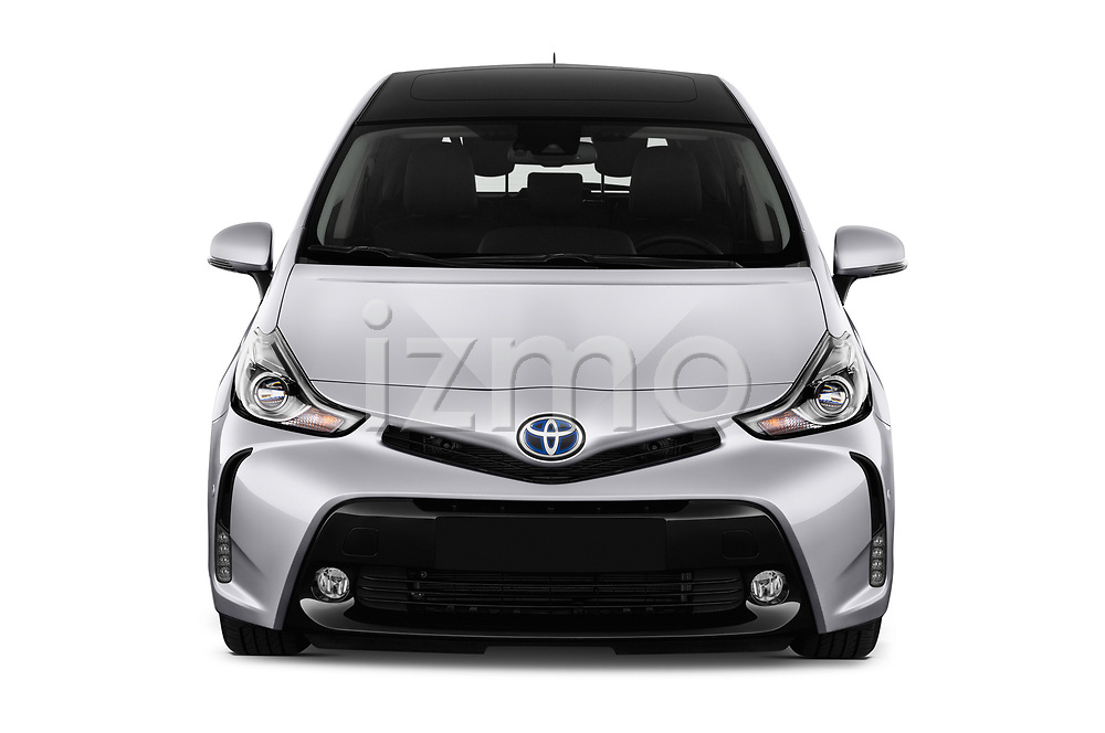Car photography straight front view of a 2018 Toyota Grand-Prius+ business-plus 5 Door Mini Mpv Front View
