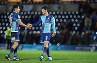 goalscorer Joe Jacobson of Wycombe Wanderers with Luke O'Nien of Wycombe Wanderers at full time during the Sky Bet League 2 match between Wycombe Wanderers and Yeovil Town at Adams Park, High Wycombe, England on 14 January 2017. Photo by Andy Rowland / PRiME Media Images.