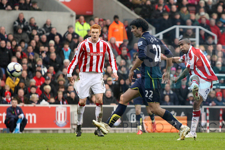 Stoke City's Ricardo Fuller shoots past Tottenham Hotspur's Vedran Corluka