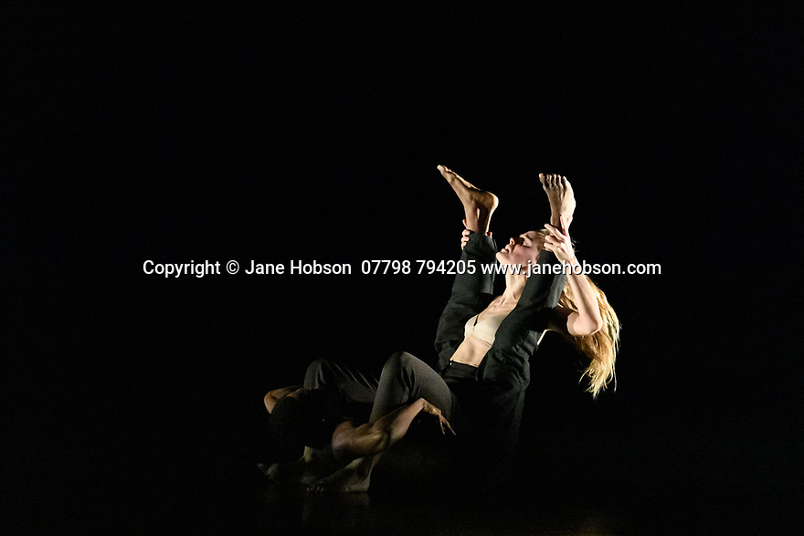 """London, UK. 04.11.2019. Rambert2 presents """"Sin"""", at Sadler's Wells theatre, choreographed by Sidi Larbi Cherkaoui and Damien Jalet, with lighting design by Adam Carree and costume design by Alexandra Gilbert. Picture shows: Minouche Van de Ven and Prince Lyons. Photograph © Jane Hobson."""
