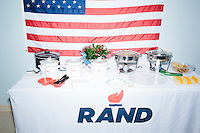Food stands on a table at the campaign headquarters of Kentucky senator and Republican presidential candidate Rand Paul during a celebration at his campaign headquarters in Manchester, New Hampshire.
