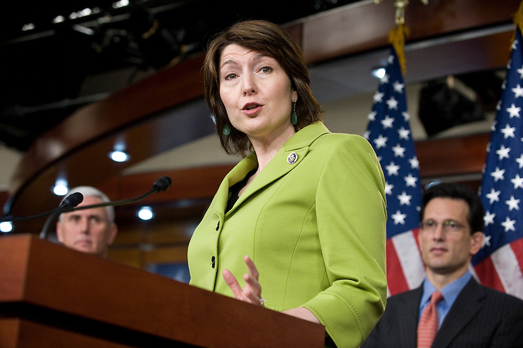 Rep. Cathy McMorris Rodgers, R-Wash., speaks during the House Republican's news conference after their Conference meeting on Wednesday, April 14, 2010.