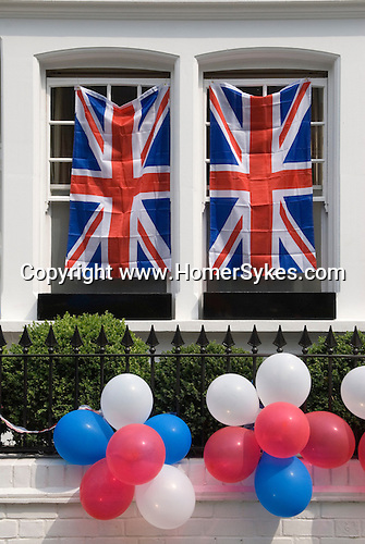 Royal Wedding Street Party. Bunting exterior Chelsea London April 29 2011<br /> Prince William Kate Middleton Princess Catherine