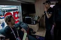 Simon Yates (GBR/Mitchelton-Scott) getting himself a last coffee for the road while having some last checks by DS Matt White on the teambus ahead of the start<br /> <br /> Stage 3: Vinci to Orbetello (219km)<br /> 102nd Giro d'Italia 2019<br /> <br /> ©kramon