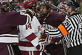 Alexander Kerfoot (Harvard - 14), Tylor Spink (Colgate - 18) - The Harvard University Crimson defeated the visiting Colgate University Raiders 7-4 (EN) on Saturday, February 20, 2016, at Bright-Landry Hockey Center in Boston, Massachusetts,